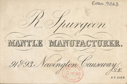 Advert for R Spurgeon, mantle manufacturer, reverse side